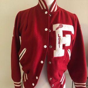 Red Vintage Varsity jacket Wool